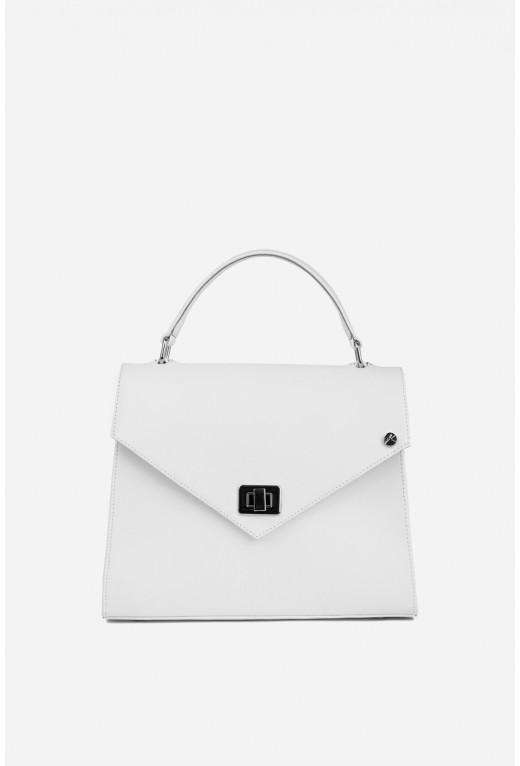 Портфель MITTE GRANDE MINI  з білої фактурної шкіри /срібло/