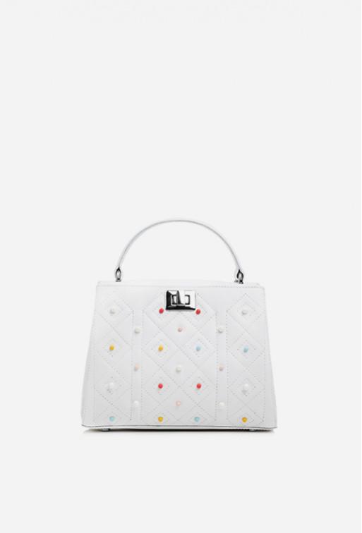 Портфель Erna mini color Studs з білої шкіри /срібло/