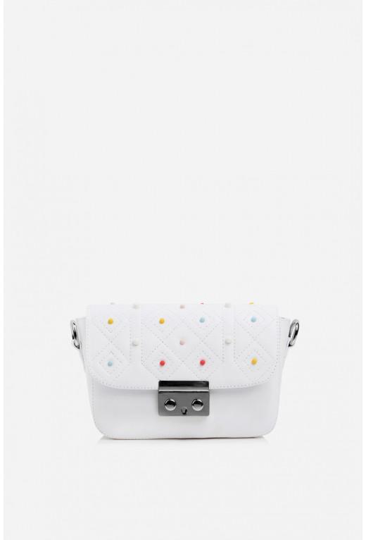 Кросбаді LILU STAR color Studs  з білої шкіри /срібло/