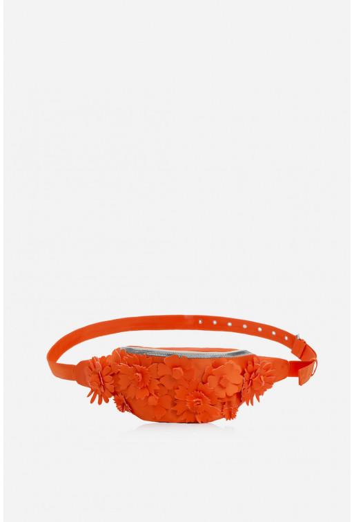 Bum bag Flowers  з помаранчевого сатину /срібло/