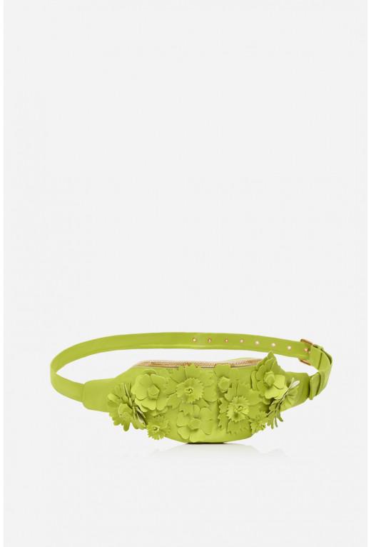 Bum bag Flowers  з салатового сатину /золото/