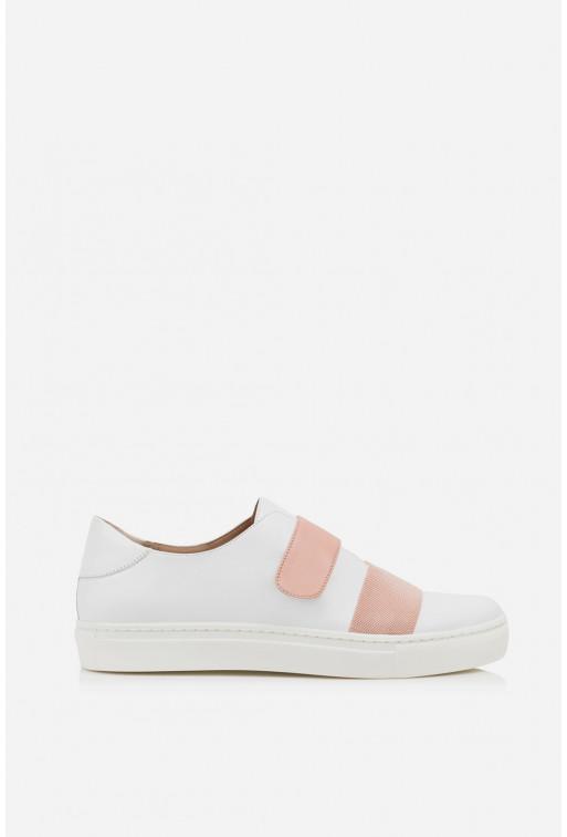Кеди біло-рожеві  шкіряні