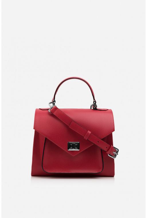 Портфель MITTE з червоно-рожевої фактурної шкіри /срібло/