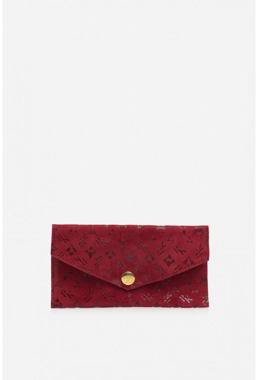 Гаманець конверт  з червоної  замшевої шкіри