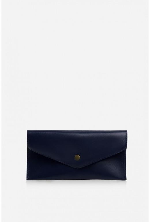 Гаманець конверт  з темно-синьої шкіри