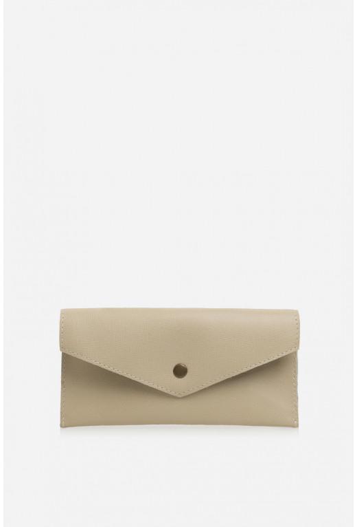 Гаманець конверт  з бежевої шкіри саф'яно