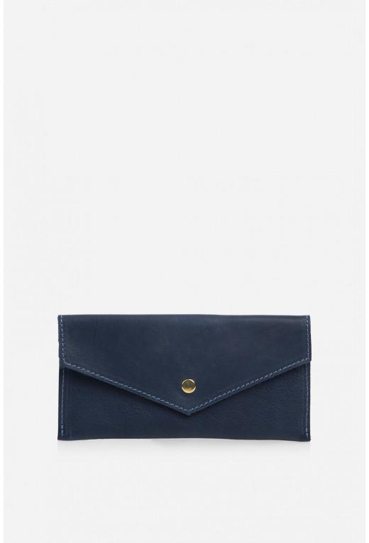 Гаманець конверт  з синьої гладкої шкіри