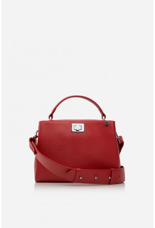 Портфель ERNA MINI  з червоно-рожевої фактурної шкіри /срібло/