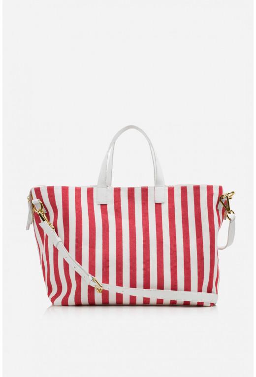 Шопер Stella textile  в біло-червону смужку /золото/