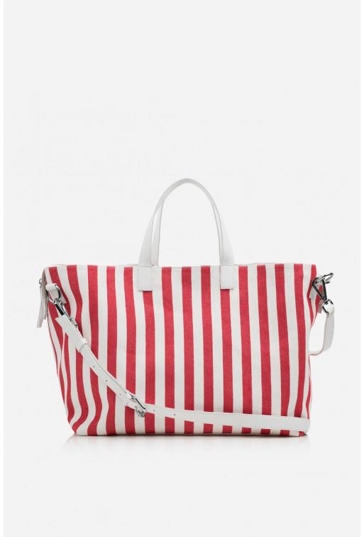 Шопер Stella textile  в біло-червону смужку /срібло/