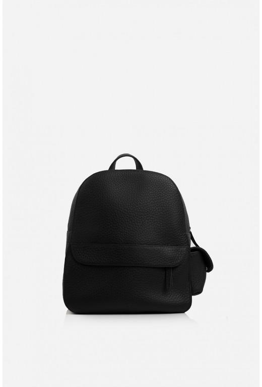 Рюкзак  з чорної шкіри флотар /срібло/