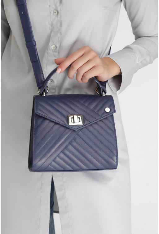 Портфель MITTE MINI QUILTED  з темно-синьої шкіри /срібло/