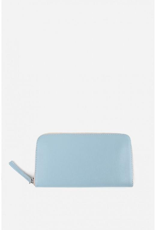 Гаманець ELENA  з блакитної шкіри на блискавці