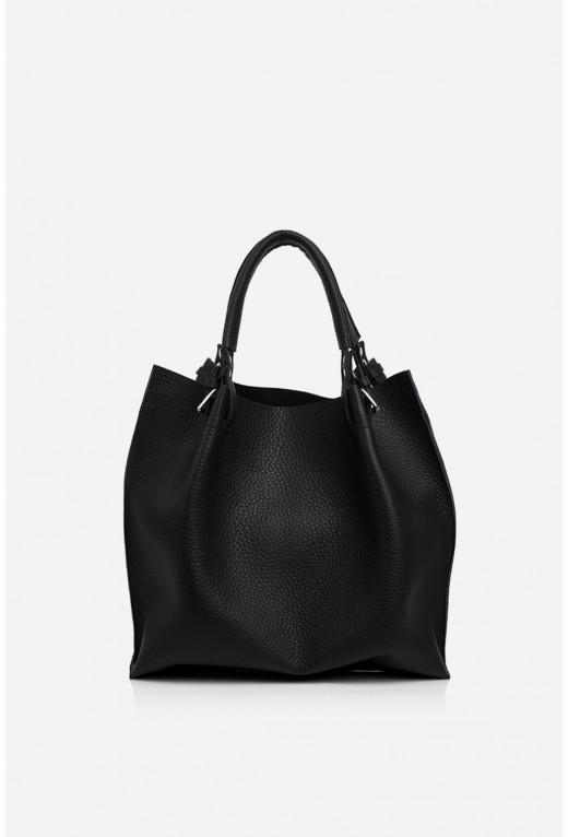R-BAG з чорної шкіри флотар /срібло/
