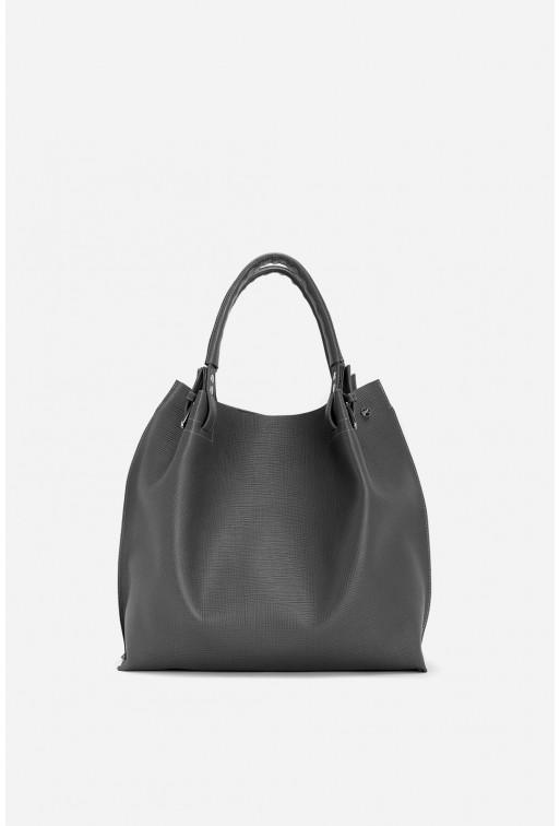 R-BAG  з темно-сірої  тисненої шкіри /срібло/