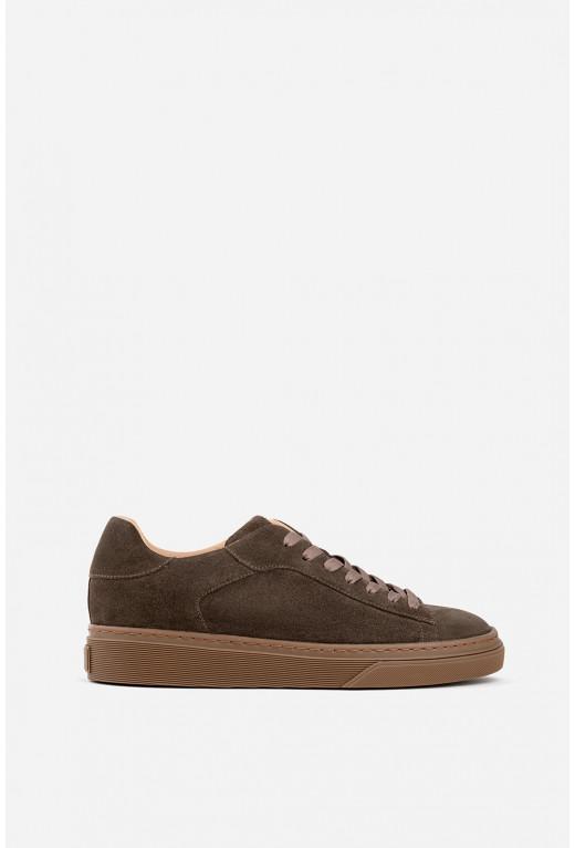 Кеди коричневі замшеві  на шнурках