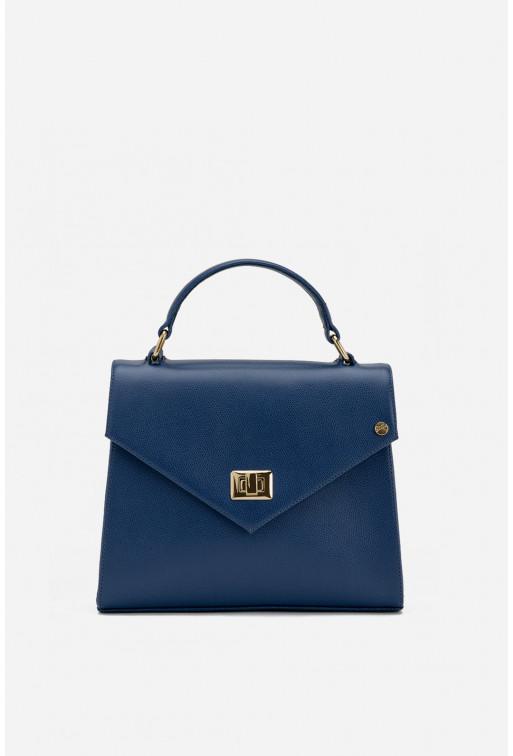 Портфель MITTE GRANDE MINI  з синьої фактурної шкіри /золото/