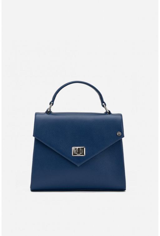 Портфель MITTE GRANDE MINI  з синьої фактурної шкіри /срібло/