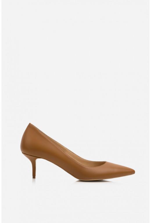 Лодочки карамельні шкіряні  kitten heels /5 см/