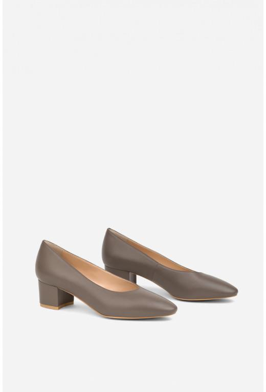 Туфлі ELINE  сіро-коричневі  шкіряні /4 см/