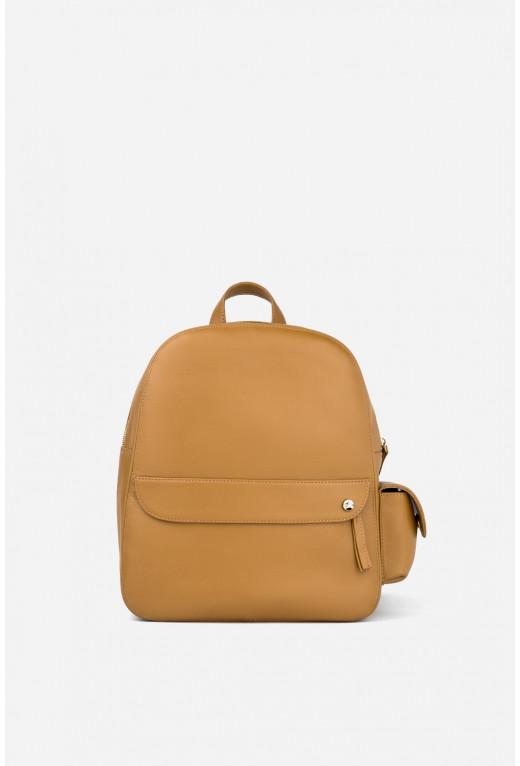 Рюкзак  з карамельної шкіри /золото/