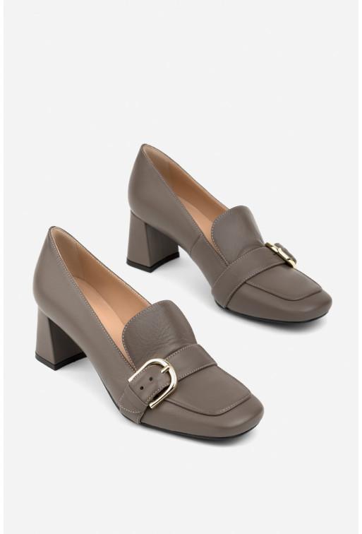Туфлі-лофери сіро-коричневі шкіряні з пряжкою /5 см/