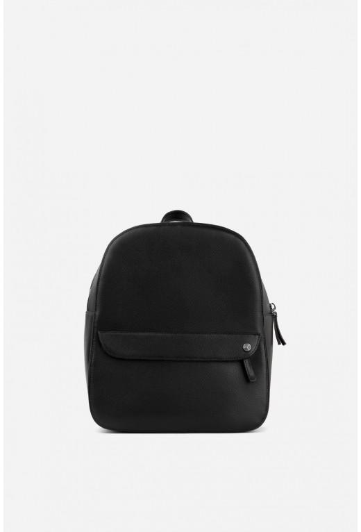 Рюкзак  з чорної фактурної шкіри /срібло/