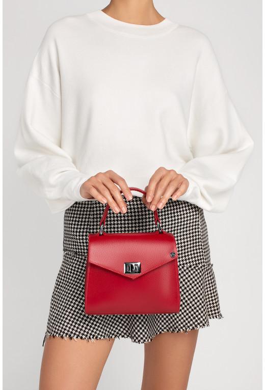 Портфель MITTE MINI  з червоної фактурної шкіри /срібло/