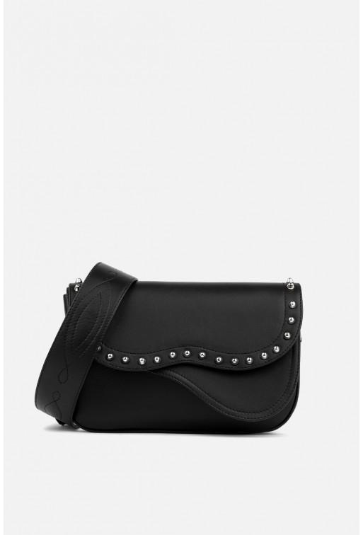 Кросбаді Saddle bag Studs з чорної шкіри /срібло/