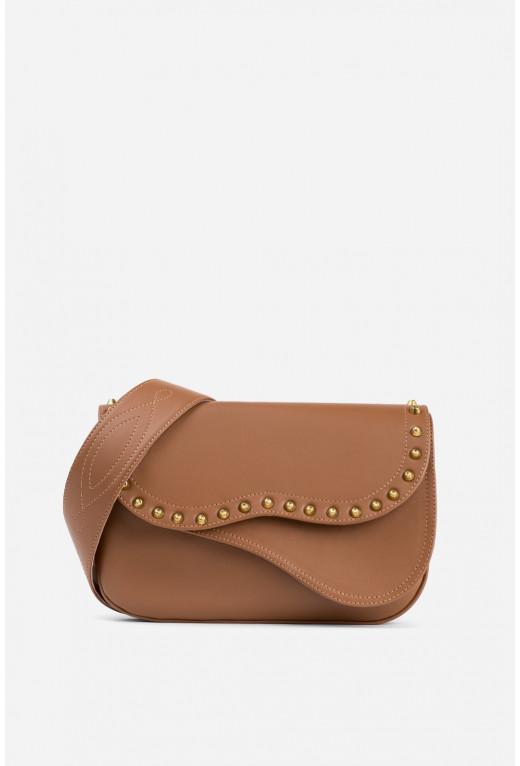 Кросбаді Saddle bag Studs з коричневої гладкої шкіри /золото/