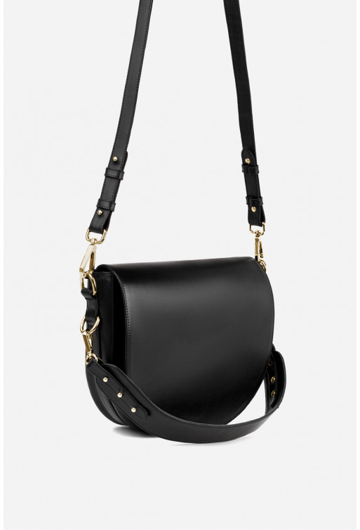 Кросбаді Saddle bag 1 з чорної гладкої шкіри /золото/