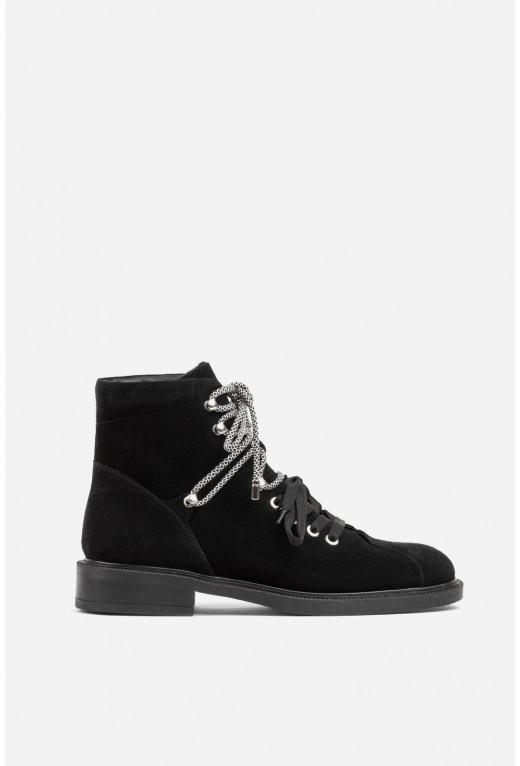 Черевики чорні замшеві на шнурівці /хутро/