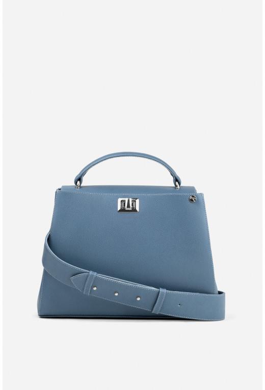 Портфель ERNA з темно-блакитної фактурної шкіри /срібло/