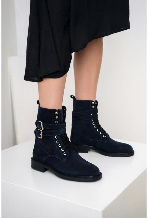 Черевики високі сині з замшевої шкіри /байка/