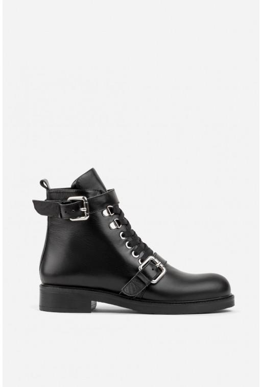 Черевики чорні шкіряні з ремінцями на шнурівці /хутро/
