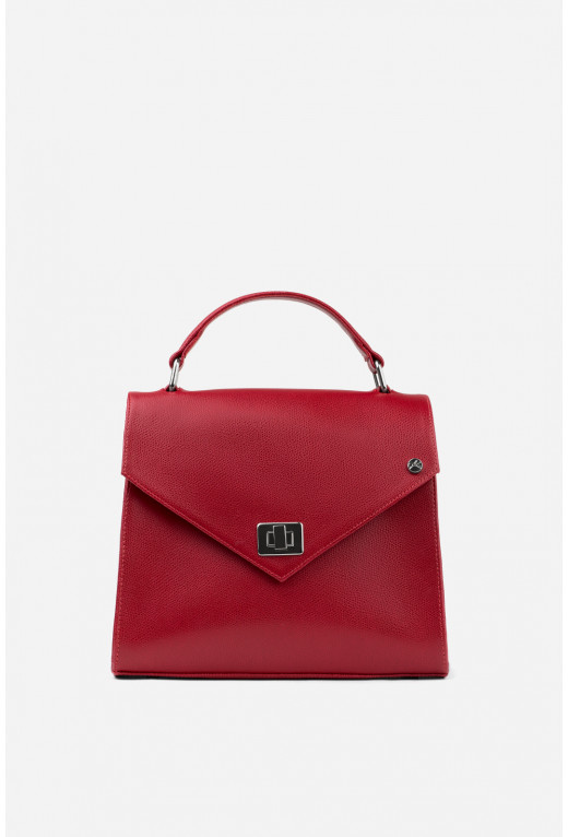 Портфель MITTE GRANDE MINI з червоної фактурної шкіри /срібло/