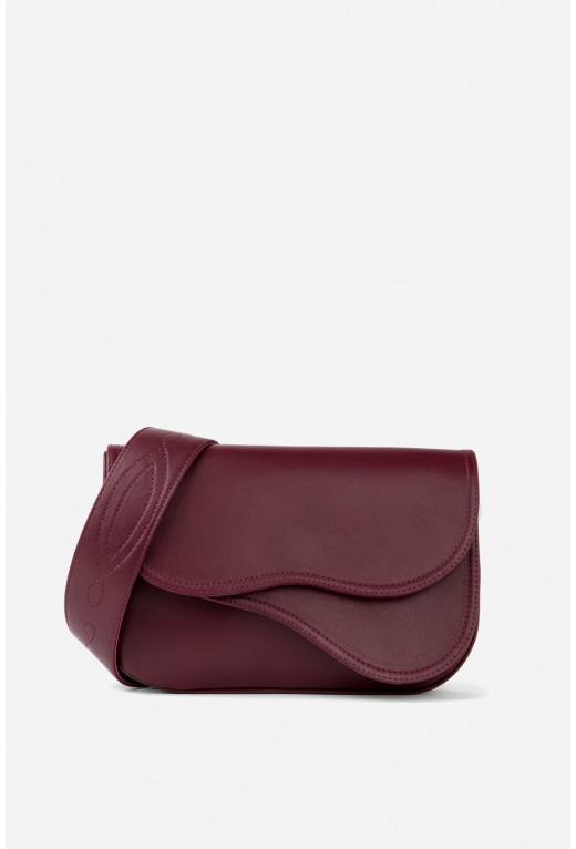 Кросбаді Saddle bag 2 з бордової гладкої шкіри /срібло/