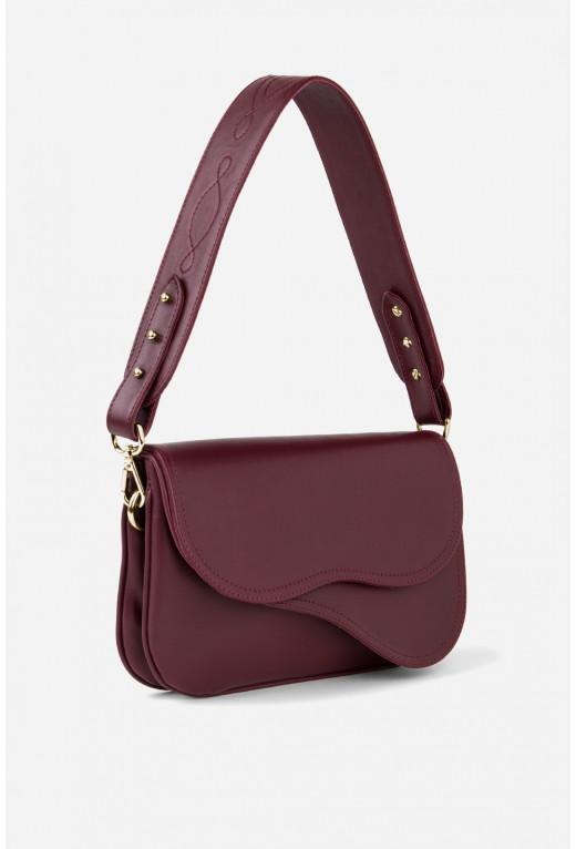 Кросбаді Saddle bag 2 з бордової гладкої шкіри /золото/
