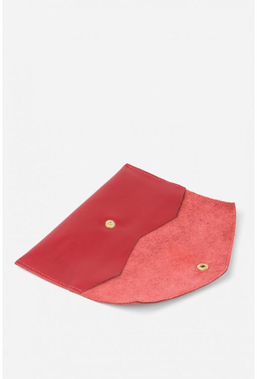 Гаманець конверт з червоної гладкої шкіри