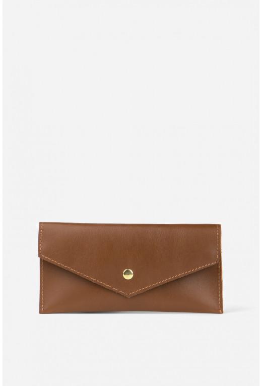 Гаманець конверт з коричневої гладкої шкіри