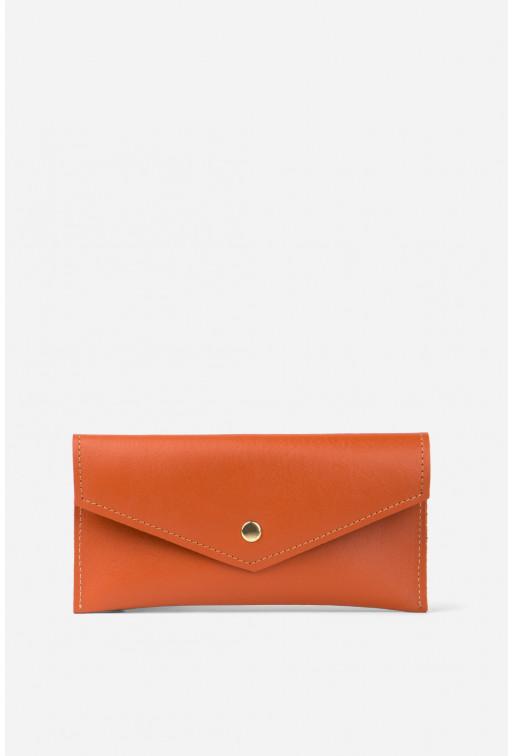 Гаманець конверт  з помаранчевої гладкої шкіри