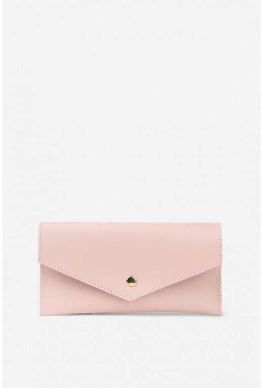 Гаманець конверт з пудрової гладкої шкіри