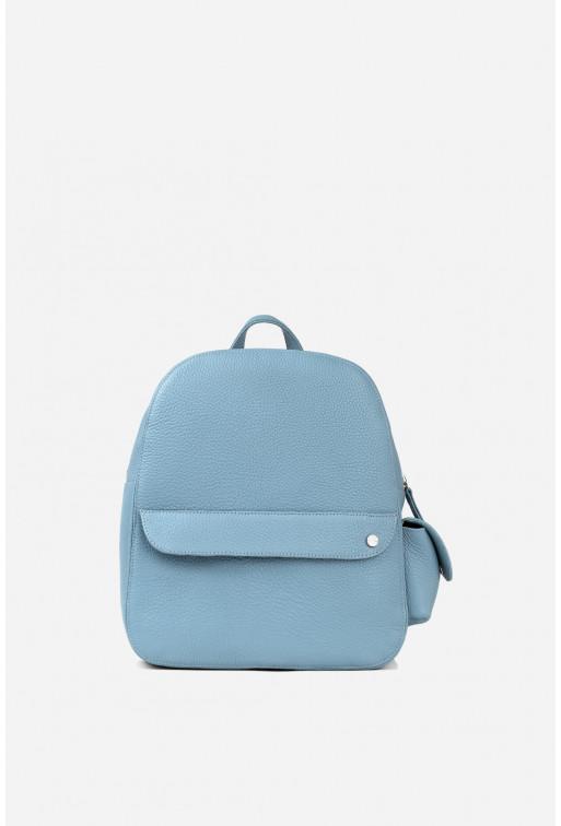 Рюкзак  з блакитної шкіри флотар /срібло/