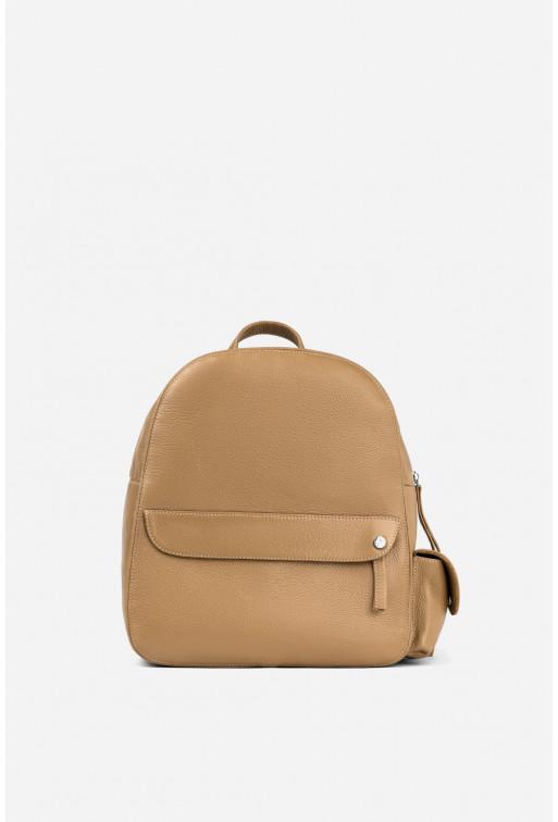 Рюкзак  з карамельної шкіри флотар /срібло/