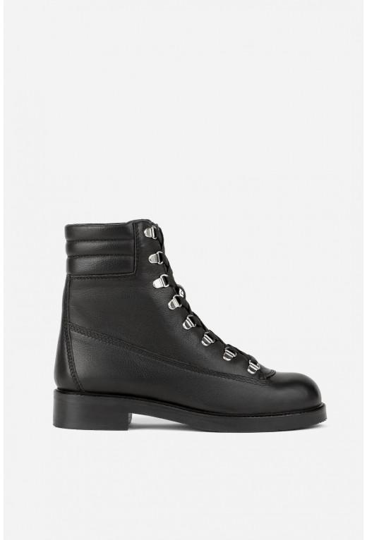 Черевики з чорної шкіри на шнурівці /хутро/