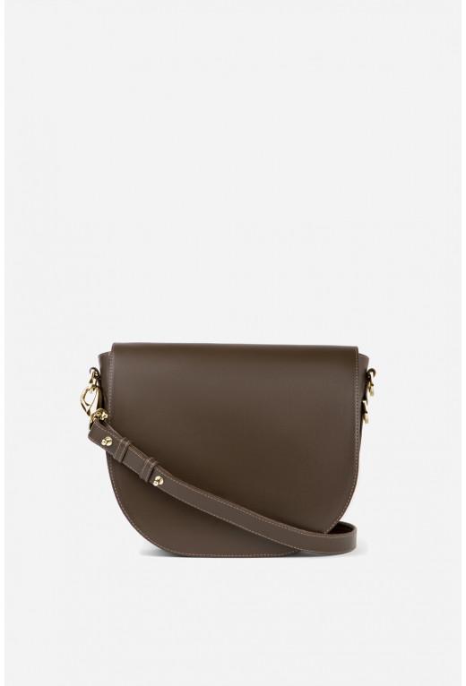 Кросбаді Saddle bag 1 з горіхової гладкої шкіри /золото/