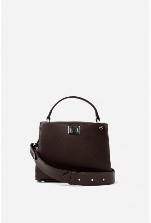 Портфель ERNA MINI з шоколадної фактурної шкіри /срібло/