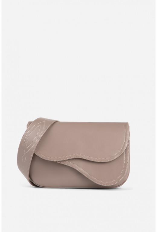 Кросбаді Saddle bag 2 з сіро-рожевої гладкої шкіри /золото/