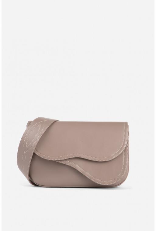 Кросбаді Saddle bag 2 з сіро-рожевої гладкої шкіри /срібло/