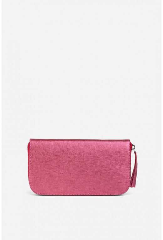 Гаманець ELENA з рожевої тисненої шкіри /срібло/